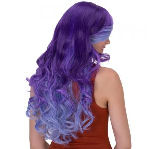 Stunning Long Side Bang Wavy Ombre Color Synthetic Wig - BLUE + PURPLE
