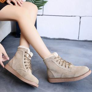 Lace-Up Criss-Cross Suede Snow Boots -