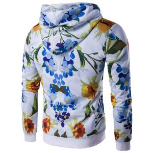 Floral Printed Zip-Up Hoodie - FLORAL 2XL