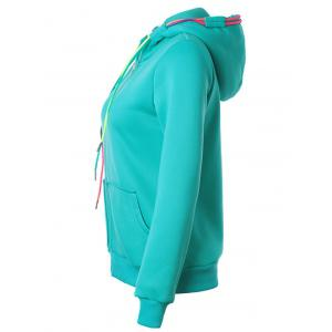 Drawstring Casual Zipper Up Hoodie - LAKE BLUE S