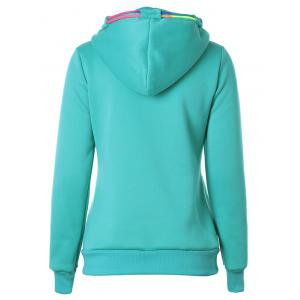 Drawstring Casual Zipper Up Hoodie -