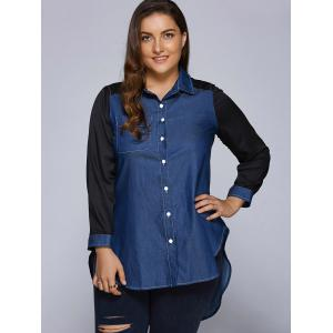 Plus Size Patchwork High-Low Dark Denim Long Shirt - BLUE 3XL
