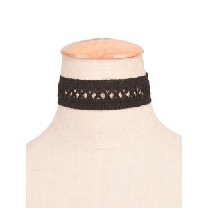 Crochet Lace Criss Cross Choker Necklace - BLACK