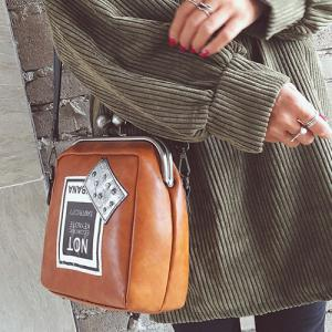 Colour Splicing Kiss Lock Closure Crossbody Bag -