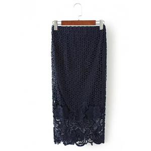 Embroidered Lace Bodycon Skirt - CADETBLUE L