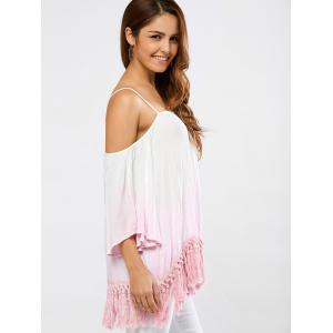 Fringed Ombre Color Blouse -