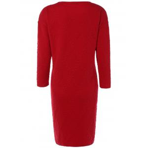 Christmas Cable Knit Plaid Jacquard Dress - RED ONE SIZE