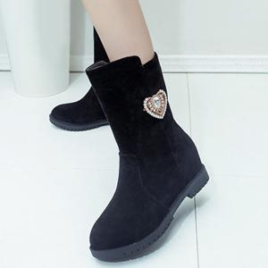 Heart Rhinestone Hidden Wedge Mid-Calf Boots -