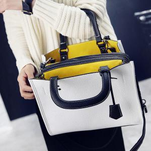 Lock Zipper Textured Leather Tote Bag -