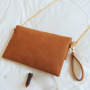 Magnetic Closure Metal PU Leather Clutch Bag -