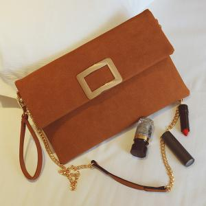 Magnetic Closure Metal PU Leather Clutch Bag - LIGHT BROWN