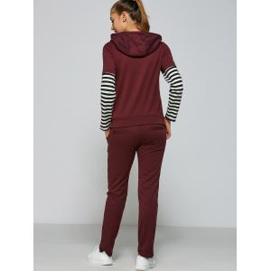 Active Striped Sleeve Hoodie+Pants -