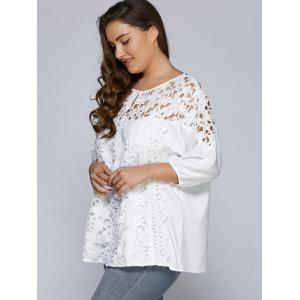 Hollow Out Patchwork Plus Size Blouse - WHITE 5XL