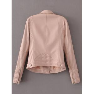 PU Fitting Zip-Up Motorcycle Jacket - PINK S