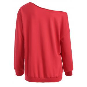 Casual Skew Neck Christmas Pullover Sweatshirt - RED XL