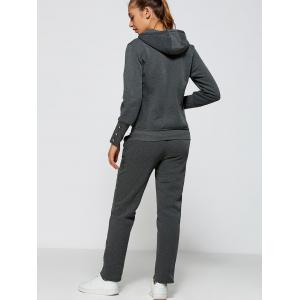 Active Zipper Up Hoodie+Pants - DEEP GRAY 2XL