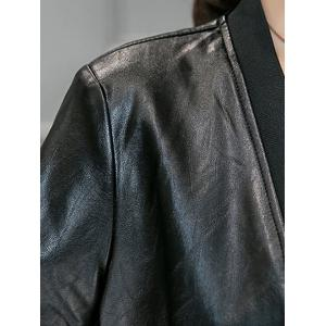 Leather Panel Long Collarless Coat - BLACK 2XL