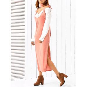 Side Slit Slip Dress With Scarf - PINK M