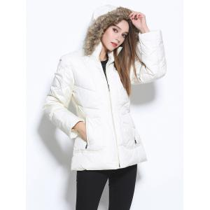 Faux Fur Hooded Pocket Design Coat - WHITE XL