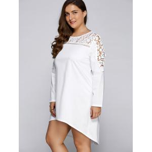 Plus Size Lace Insert Long Sleeve Casual Dress -