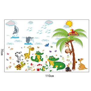 Animal Paradise Cartoon Kids Room Wall Stickers - COLORFUL