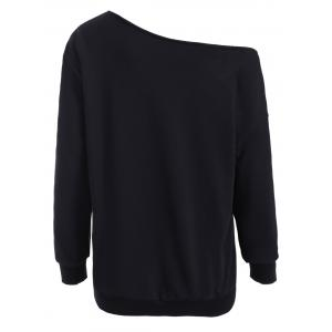 Skew Neck Christmas Pullover Sweatshirt - BLACK XL