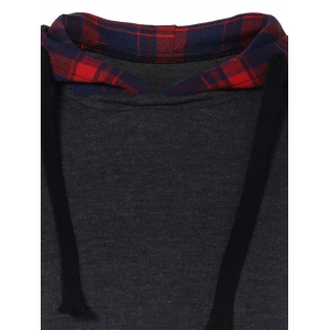 Plaid Insert Drawstring Tunic Hoodie - DEEP GRAY S