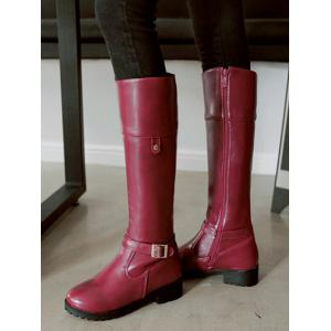 Zipper Buckle Chunky Heel Knee-High Boots - WINE RED 38