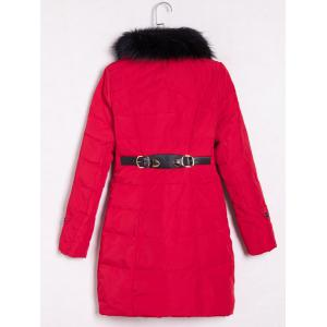Faux Fur Embellished Double-Breasted Coat -