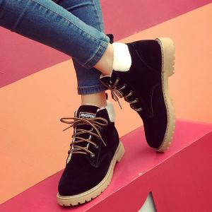 Suede Lace-Up Faux Shearling Short Boots -