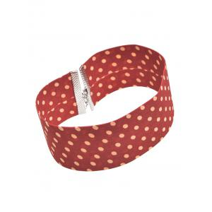 Polka Dot Print Wide Choker Necklace -