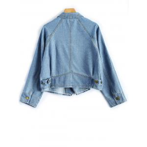 Shirt Neck Cropped Jean Jacket with Sleeves - LIGHT BLUE M