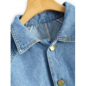 Shirt Neck Cropped Jean Jacket with Sleeves -