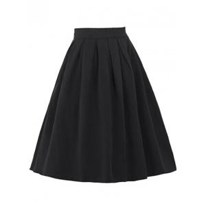 High Waisted Ruched Full Skater Skirt -