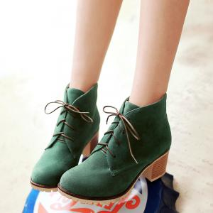 Lace-Up Chunky Heel Suede Ankle Boots -
