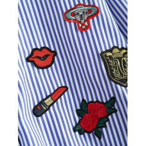 High-Low Striped Embroidered Shirt - BLUE 5XL