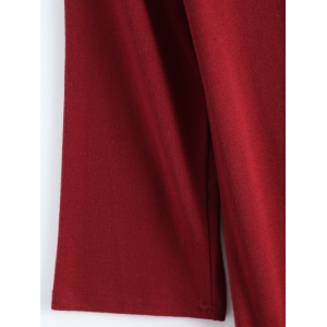 Plus Size Color Block Ruffle Long Sleeve Dress - WINE RED 4XL