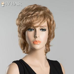 Short Inclined Bang Slightly Curled Siv Human Hair Wig - BLONDE
