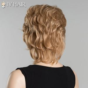 Short Inclined Bang Slightly Curled Siv Human Hair Wig - GOLDEN BLONDE