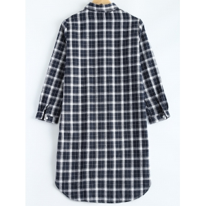 Plus Size Long Sleeve High Low Casual Tunic Shirt Dress -