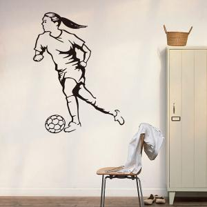 Female Football Player Removable Sports Vinyl Decals Wall Stickers - BLACK