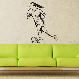 Female Football Player Removable Sports Vinyl Decals Wall Stickers -
