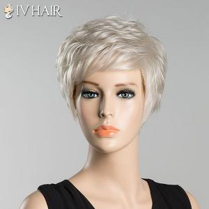 Short Fluffy Inclined Bang Slightly Curled Siv Human Hair Wig -