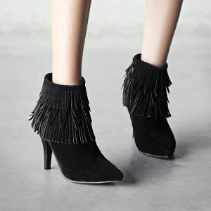 Stiletto Heel Multilayerer Fringe Zipper Ankle Boots -