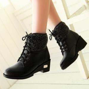 Faux Shearling Wedge Heel Lace-Up Boots - BLACK 39