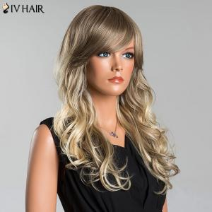 Siv Long Colormix Fluffy Wavy Oblique Bang Human Hair Wig -