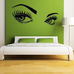 130*57CMCharming Eyes Pattern Removable Wall Stickers Room Decor - BLACK