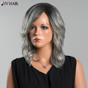 Siv Long Side Parting Colormix Wavy Human Hair Wig -