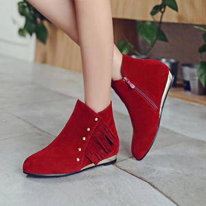 Zipper Dome Stud Flat Ankle Boots -