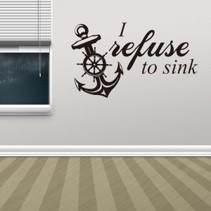 Vinyl Removable Anchor Quote Room Decor Wall Stickers - BLACK